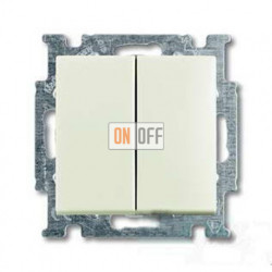 Переключатель двухклавишный ABB Basic 55, шале-белый 1012-0-2191