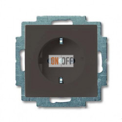 Розетка с заземлением с безвинтовыми зажимами ABB Basic 55, шато-черный 2011-0-6142
