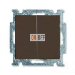 Выключатель двухклавишный с подсветкой ABB Basic 55, шато-черный 1012-0-2178