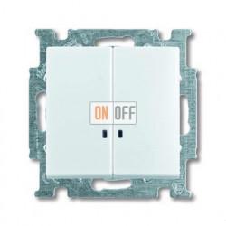 Выключатель двухклавишный с подсветкой ABB Basic 55, белый 1012-0-2154