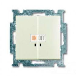 Выключатель двухклавишный с подсветкой  ABB Basic 55, шале-белый 1012-0-2188