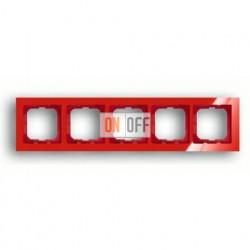 Рамка пятерная ABB Busch-axcent красный глянцевый 1754-0-4353