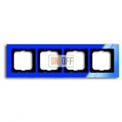 Рамка четверная ABB Busch-axcent синий глянцевый 1754-0-4354