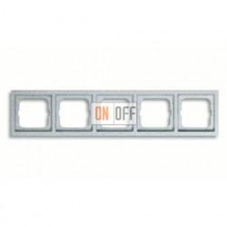 Рамка пятерная, для горизонтального/вертикального монтажа ABB Future Linear серебристо-алюминиевый 1754-0-4310