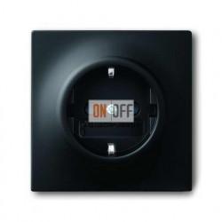 Розетка с заземлением (безвин. зажим) 16 А / 250 В~, ABB Impuls черный бархат 2011-0-3886