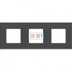 Рамка 3 поста по 2 модуля ABB Zenit, немецкий стандарт (стекло графит) N2273 CF - N2271.9 - N2271.9 - N2271.9