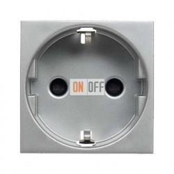 Розетка с заземлением с безвинтовыми контактами, со шторками 16А ZENIT (серебристый) N2288.6 PL