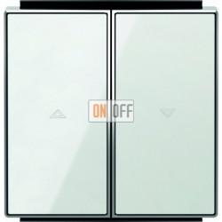 Выключатель управления жалюзи кнопочный ABB Sky, белое стекло 8144 - 8544 CB