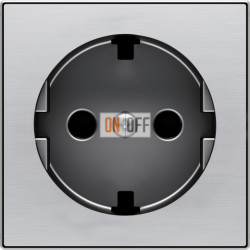 Розетка с заземлением со шторками с винтовыми клеммами ABB Sky, нержавеющая сталь 8188 - 8588 AI