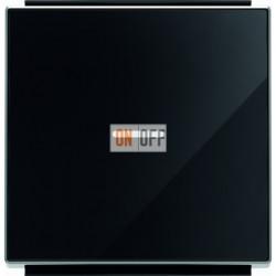 Переключатель одноклавишный  с подсветкой ( c 2-х мест) ABB Sky, 10 А, черное стекло 8102 - 6192 BL - 8501.3 CN