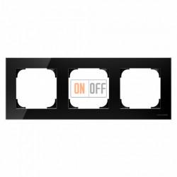 Рамка тройная ABB Sky, черное стекло 8573 CN