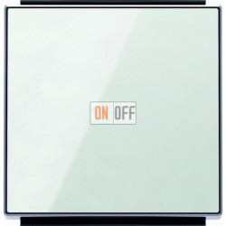 Переключатель одноклавишный  с подсветкой ( c 2-х мест) ABB Sky, 10 А, белое стекло 8102 - 6192 BL - 8501.3 CB