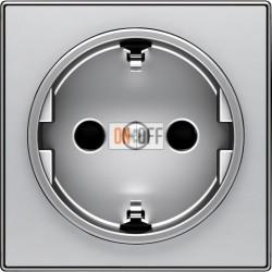 Розетка с заземлением со шторками с безвинтовыми клеммами ABB Sky, серебряный 8188.6 - 8588 PL