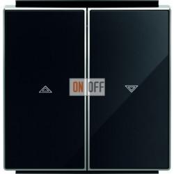 Выключатель управления жалюзи кнопочный ABB Sky, черное стекло 8144 - 8544 CN