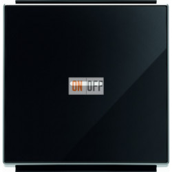 Выключатель одноклавишный с подсветкой ABB Sky, 10 А, черное стекло 8101 - 6192 BL - 8501.3 CN