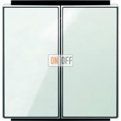 Выключатель двухклавишный ABB Sky, 10 А, белое стекло 8111 - 8511 CB