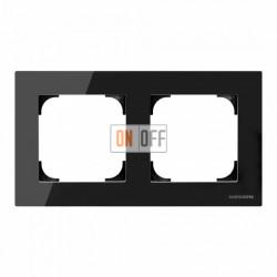 Рамка двойная ABB Sky, черное стекло 8572 CN