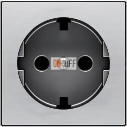 Розетка с заземлением со шторками с безвинтовыми клеммами ABB Sky, нержавеющая сталь 8188.6 - 8588 AI