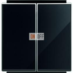 Переключатель двухклавишный ( с 2-х мест) ABB Sky, 10 А, черное стекло 8122 - 8511 CN