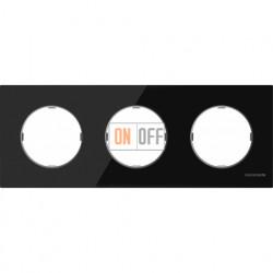 Рамка тройная ABB Skymoon, черное стекло 8673 CN
