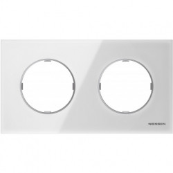 Рамка двойная ABB Skymoon, белое стекло 8672 CB