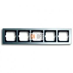 Рамка пятерная ABB Solo матовый хром 1754-0-4108