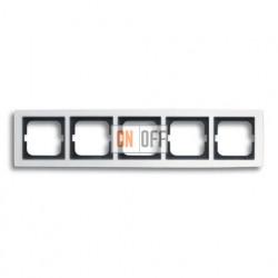 Рамка пятерная ABB Solo белый глянцевый 1754-0-4113