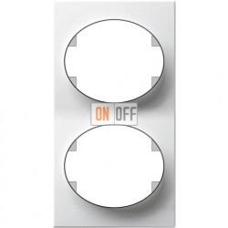 Рамка двухместная вертикальная ABB Tacto (белая) 5572 BL