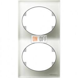 Рамка двухместная вертикальная ABB Tacto (белое стекло) 5572 CB
