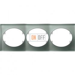 Рамка трехместная горизонтальная ABB Tacto (серебрянное стекло) 5573.1 CL