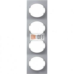 Рамка четырехместная вертикальная ABB Tacto (серебристая) 5574 PL