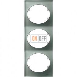 Рамка трехместная вертикальная ABB Tacto (серебрянное стекло) 5573 CL