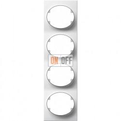 Рамка четырехместная вертикальная ABB Tacto (белая) 5574 BL