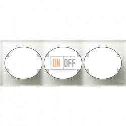 Рамка трехместная горизонтальная ABB Tacto (белое стекло) 5573.1 CB