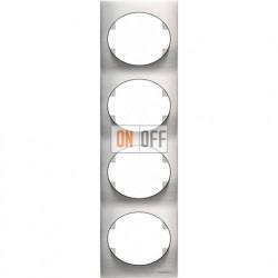Рамка четырехместная вертикальная ABB Tacto (сталь) 5574 OX