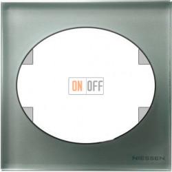 Рамка одноместная ABB Tacto (серебрянное стекло) 5571 CL