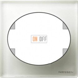 Рамка одноместная ABB Tacto (белое стекло) 5571 CB