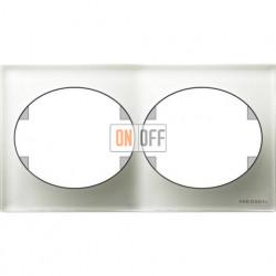 Рамка двухместная горизонтальная ABB Tacto (белое стекло) 5572.1 CB