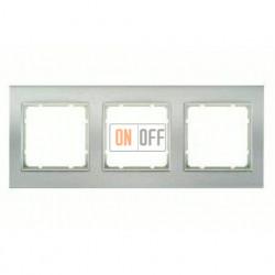 Рамка тройная, для горизонтального/вертикального монтажа Berker B.3 алюминий-белый 10133904
