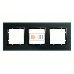 Рамка тройная, для гориз./вертик. монтажа Berker B.7 Glass черное стекло 10136616