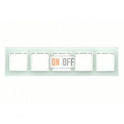 Рамка пятерная, для гориз./вертик. монтажа Berker B.7 Glass белое стекло 10156909