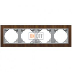 Рамка четверная Efapel logus 90 орех/алюминий 90940 TNA