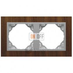 Рамка двойная Efapel logus 90 орех/алюминий 90920 TNA