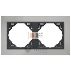Рамка двойная Efapel logus 90 хром/серый 90920 TRS
