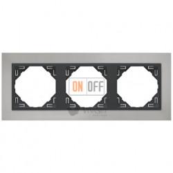 Рамка тройная Efapel logus 90 хром/серый 90930 TRS