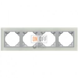 Рамка четверная  Efapel logus 90 стекло алюминий 90940 TCA