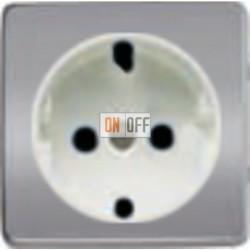 Розетка 2к+3 с винтовым подключением 10-16А 250 V~ (блестящий хром/белый) FD16523 - FD04314CB - FD16-BAST