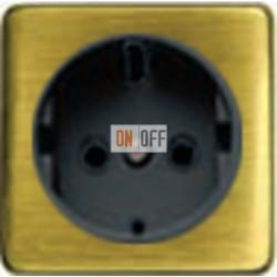 Розетка 2к+3 с винтовым подключением 10-16А 250 V~ (светлый бронза/черный) FD16523 - FD04314PB-M - FD16-BAST