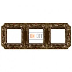 Рамка тройная Fede Palace, светлая бронза с кристаллами FD01363PBCL