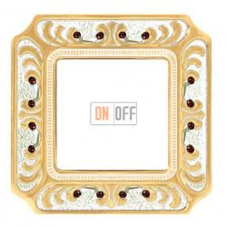Рамка одинарная Fede Palace, золотая патина с кристаллами FD01351OPCL
